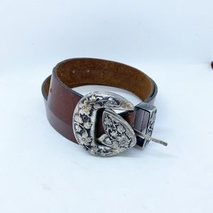Brown Leather Belt Floral Erched Buckle